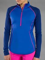 JoFit Ladies & Plus Size Reversible Long Sleeve Mock Tennis Shirts - Napa (Electric Blue)