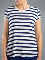 JoFit Ladies & Plus Size V-Neck Tee Shirts - Napa (Napa Stripe)