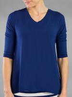 JoFit Ladies & Plus Size Voyager V-Neck Shirts - Napa (Blue Depth)