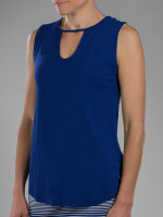 JoFit Ladies & Plus Size Keyhole Tank Tops - Napa (Blue Depth)