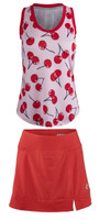 JoFit Ladies & Plus Size Tennis Outfits (Tanks & Skorts) - Barossa (Cherry Print/Lipstick)