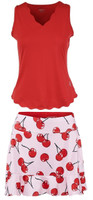JoFit Ladies & Plus Size Tennis Outfits (Tanks & Skorts) - Barossa (Lipstick/Cherry Print)