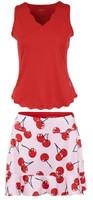 JoFit Ladies & Plus Size Tennis Outfits (Tanks & Skorts) - Barossa (Lipstick/Cherry Print)