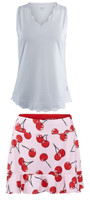 JoFit Ladies & Plus Size Tennis Outfits (Tanks & Skorts) - Barossa (White/Cherry Print)