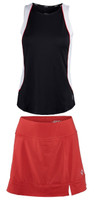 JoFit Ladies & Plus Size Tennis Outfits (Tanks & Skorts) - Barossa (Black&White/Lipstick)
