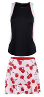 JoFit Ladies & Plus Size Tennis Outfits (Tanks & Skorts) - Barossa (Black & White / Cherry Print)
