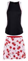JoFit Ladies & Plus Size Tennis Outfits (Tanks & Skorts) - Barossa (Black & White / Cherry Print)