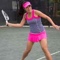 JoFit Ladies & Plus Size Tennis Outfits (Tanks & Skorts) - Napa (Diamond Print/Fluorescent Pink)