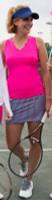JoFit Ladies & Plus Size Tennis Outfits (Tanks & Skorts) - Napa (Fluorescent Pink/Diamond Print)