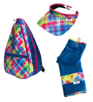 Glove It Ladies Electric Plaid Tennis Combo (Backpack/Towel/Visor)