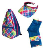 Glove It Ladies Electric Plaid Tennis Combo (Backpack/Towel/Visor)