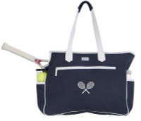 Ame & Lulu Ladies Kensington Tennis Court Bags - Navy/White