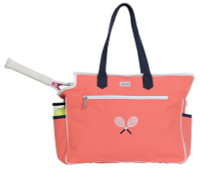 Ame & Lulu Ladies Kensington Tennis Court Bags - Coral/Navy