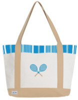 Ame & Lulu Ladies Tennis Lovers Tote Bags - Ticking Stripe