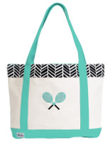 Ame & Lulu Ladies Tennis Lovers Tote Bags - Black Shutters