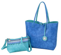 Sydney Love Ladies Reversible Tote Bag with Inner Pouch - Turquoise/Cobalt