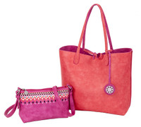 Sydney Love Ladies Reversible Tote Bag with Inner Pouch - Fuchsia/Coral
