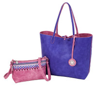 Sydney Love Ladies Reversible Tote Bag with Inner Pouch - Purple/Rose
