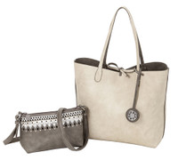 Sydney Love Ladies Reversible Tote Bag with Inner Pouch - Cement/Creme