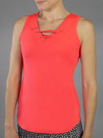 JoFit Ladies & Plus Size Lace- Up Tennis Tank Tops - Daiquiri (Calypso)