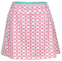 Turtles & Tees Junior Girls Tara Knit Pull On Tennis Skorts - Salmon Tee's Squared Print