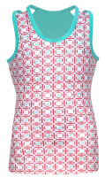 Turtles & Tees Junior Girls Kara Racerback Tennis Shirts - Salmon Tee's Squared Print