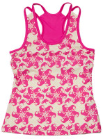Turtles & Tees Junior Girls Kara Racerback Tennis Shirts - Take a Swing Print