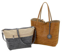 Sydney Love Ladies Reversible Tote Bag with Inner Pouch - Sand, Coal & Mocha