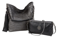 Sydney Love Ladies Reversible Hobo Bag with Inner Pouch - Black & Steel Crocodile