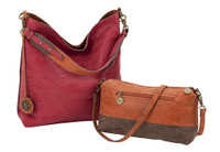 Sydney Love Ladies Reversible Hobo Bag with Inner Pouch - Cinnamon, Chocolate & Cranberry