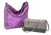 Sydney Love Ladies Reversible Hobo Bag with Inner Pouch - Graphite, Coal & Orchid