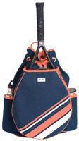 Ame & Lulu Ladies Parker Tennis Backpacks - Coral/White Stripe