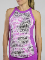 JoFit Ladies Baseline Sleeveless Tennis Tank Tops - Sangria (Lotus Pixel)