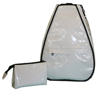 40 Love Courture Ladies Betsy Tennis Backpacks - White Quilt with Black Lining