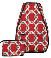 40 Love Courture Ladies Elizabeth Tennis Backpacks - Red Rope with Black Lining