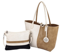 Sydney Love Ladies 4 Panel Reversible Medium Tote Bag - Creme, Taupe & Black