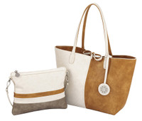 Sydney Love Ladies 4 Panel Reversible Medium Tote Bag - Creme, Camel & Cement