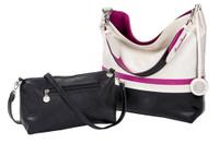 Sydney Love Ladies Reversible Hobo Bag with Inner Pouch - White, Fuchsia & Black