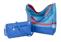 Sydney Love Ladies Reversible Hobo Bag with Inner Pouch - Turquoise, Red & Cobalt