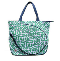 NTB Ladies Tennis Tote Bag - Zoe (Green & Navy Preppy)