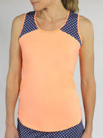 JoFit Ladies & Plus Size Ingrid Sleeveless Tennis Tank Tops - MADRAS (Papaya)