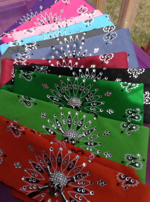 Motorcycle bandana with rhinestone skull and Swarovski crystals. American made bandana, available traditional tie or our unique no tie option as a back closure for an extra $5 bucks. Shop on line or swing on by the store in Red Wing, Minnesota