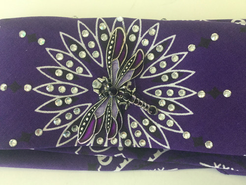 Bandana, dazzling American made bandana loaded with rhinestones surrounding  a sassy dragonfly.  Go Brazen simply makes the best bandanas ever!  Shop them on line or visit their store in Red Wing, Minnesota