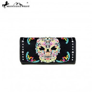 Wallet, Montana West sugar skull wallet, loads of storage!  Check out all the sugar skull items that Go Brazen has on line or swing on by their store in Red Wing, Minnesota