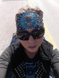 Bandana, Skull Sugar Metal Centerpiece Ocean Blue