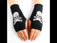 Gloves, Fingerless Skull Bling Bling