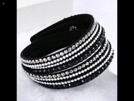 Bracelet, Leather Rhinestone Wrap Black