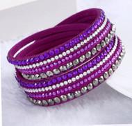 Bracelet, Leather Rhinestone Wrap Purple