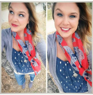 Scarf, So cute! Sugar skull scarf in red with navy blue skulls.  Shop all the fun sugar skull and skull accessories on line at Go Brazen.com or swing on by their store in Red Wing, Minnesota