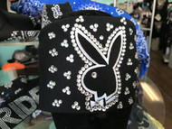 Bandana, Playboy Bunny SWAROVSKI CRYSTALS on Plain Black FREE SHIPPING